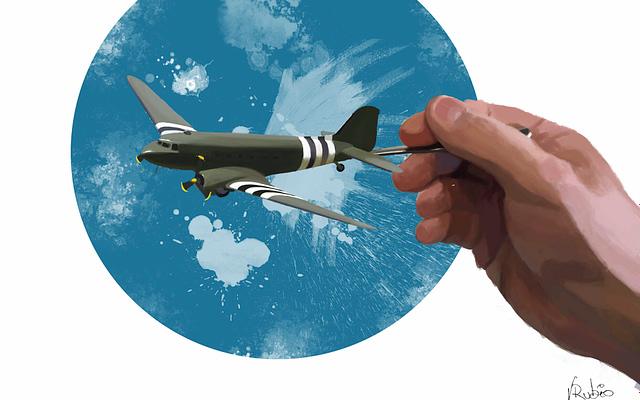 Ilustración de avión cuchara realizado con Photoshop